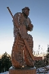 Wooden Sculptures Sportsman, Canada Stock Photos